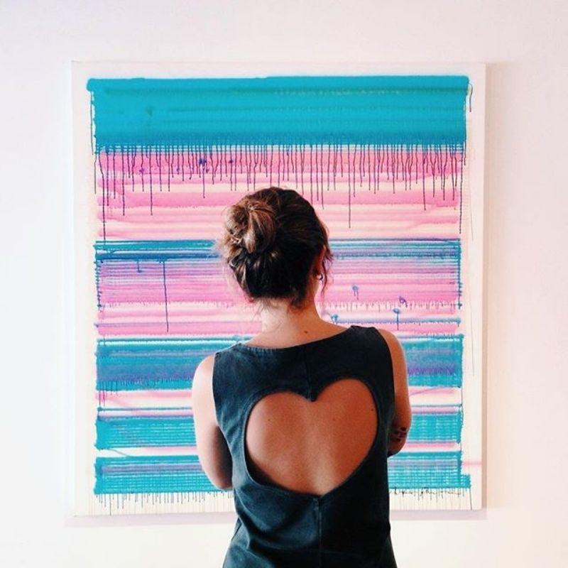 Girl watching modern art